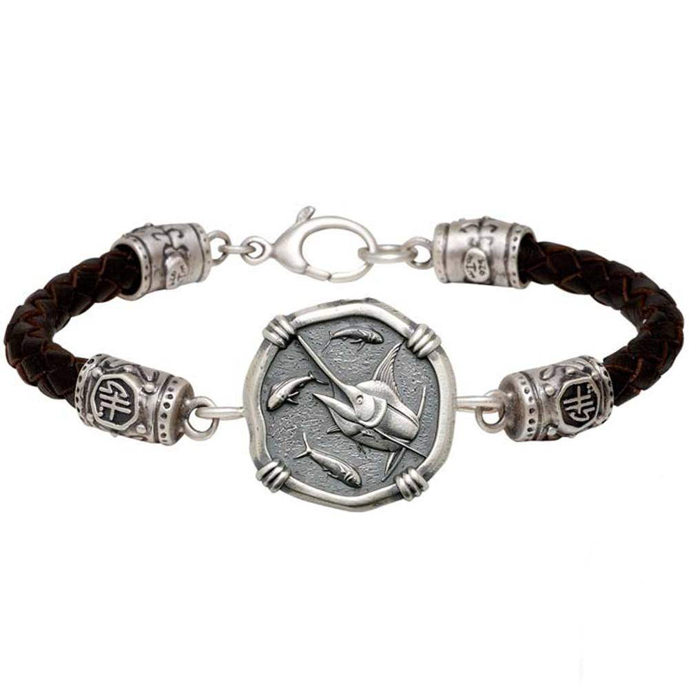 Guy Harvey Marlin on Black Leather GH Signature Bracelet Relic Finish 25mm Sterling Silver