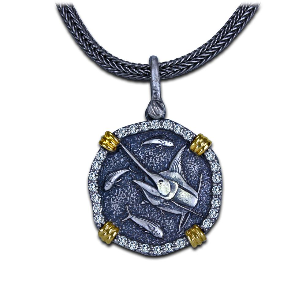 Guy Harvey Diamond Marlin Necklace in 18K Gold and Sterling Silver.