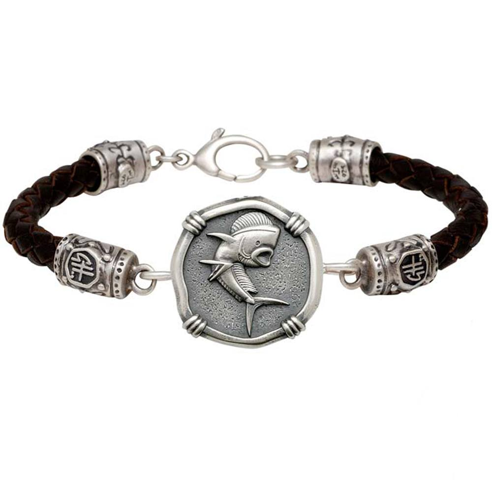 Guy Harvey Dolphin on Black Leather GH Signature Bracelet Relic Finish 25mm Sterling Silver