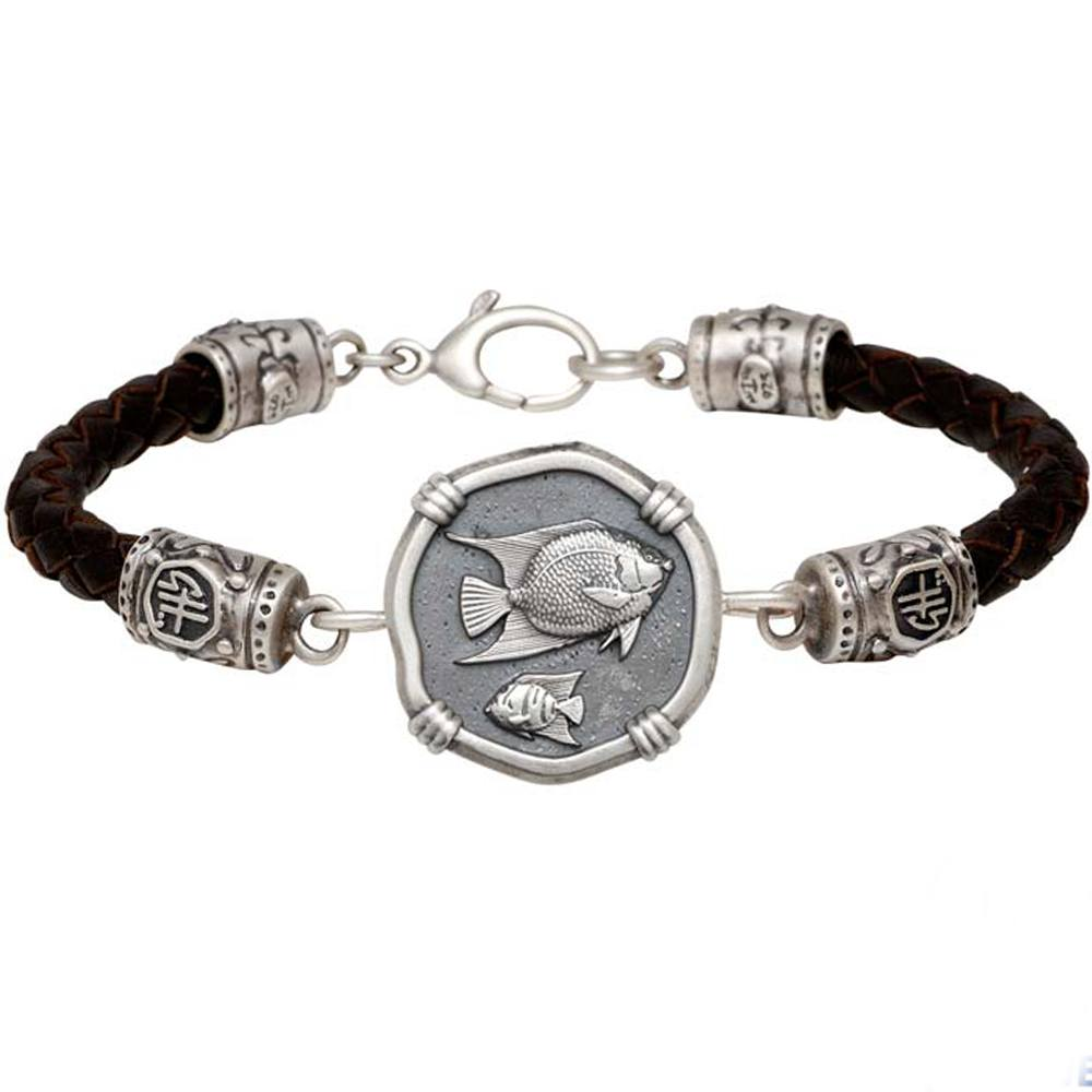 Guy Harvey Angelfish on Black Leather GH Signature Bracelet Relic Finish 25mm Sterling Silver