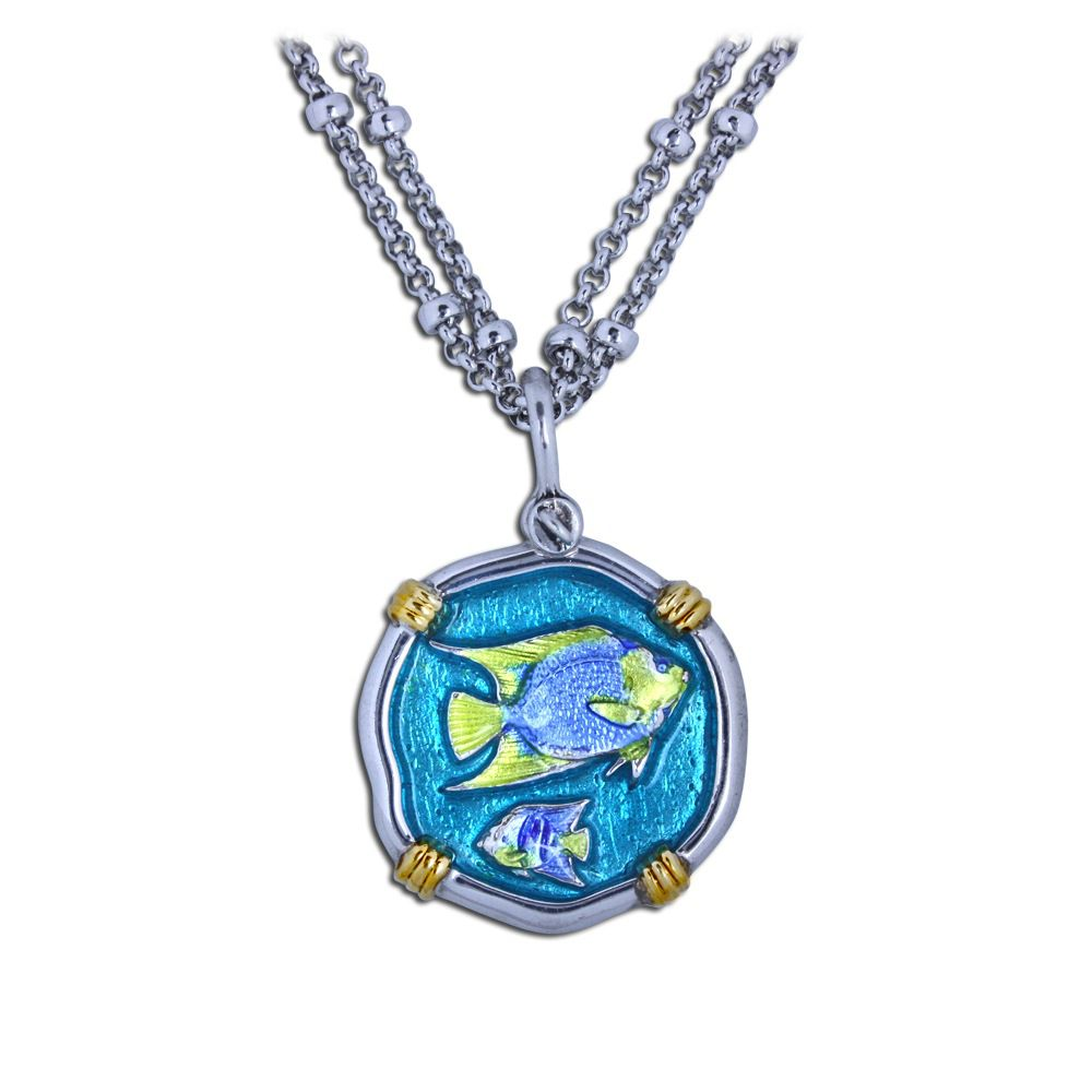 Guy Harvey 18K Gold and Sterling Silver Enameled Angelfish Necklace