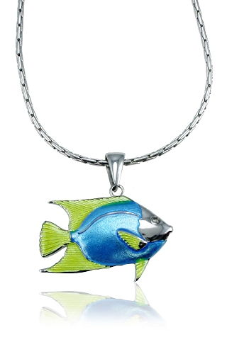 Guy Harvey Enameled Angelfish NecklaceCrafted in Sterling Silver