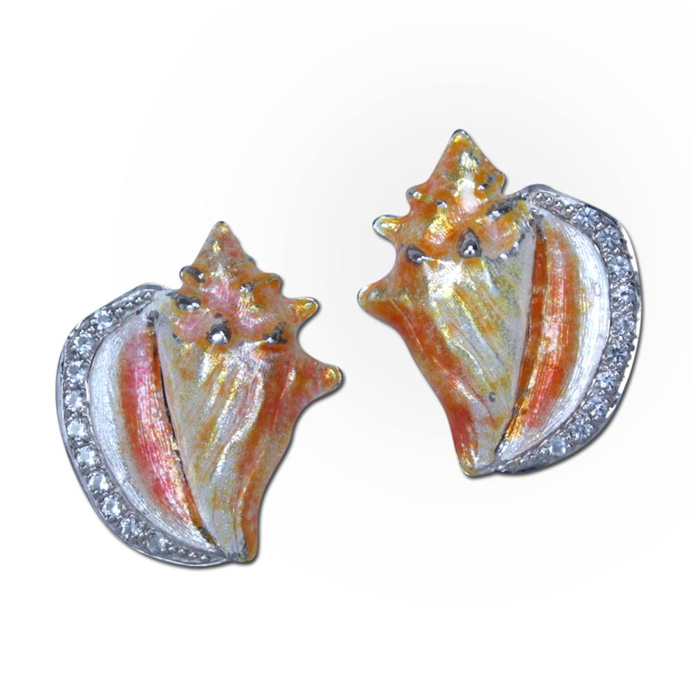 Guy Harvey Conch Shell Earrings with Enamel and White Topaz