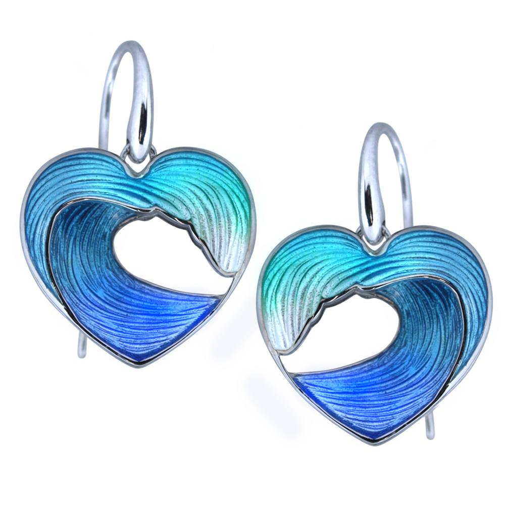 Guy Harvey - Heart of the Sea- Wave Earrings in Sterling Silver and Enamel