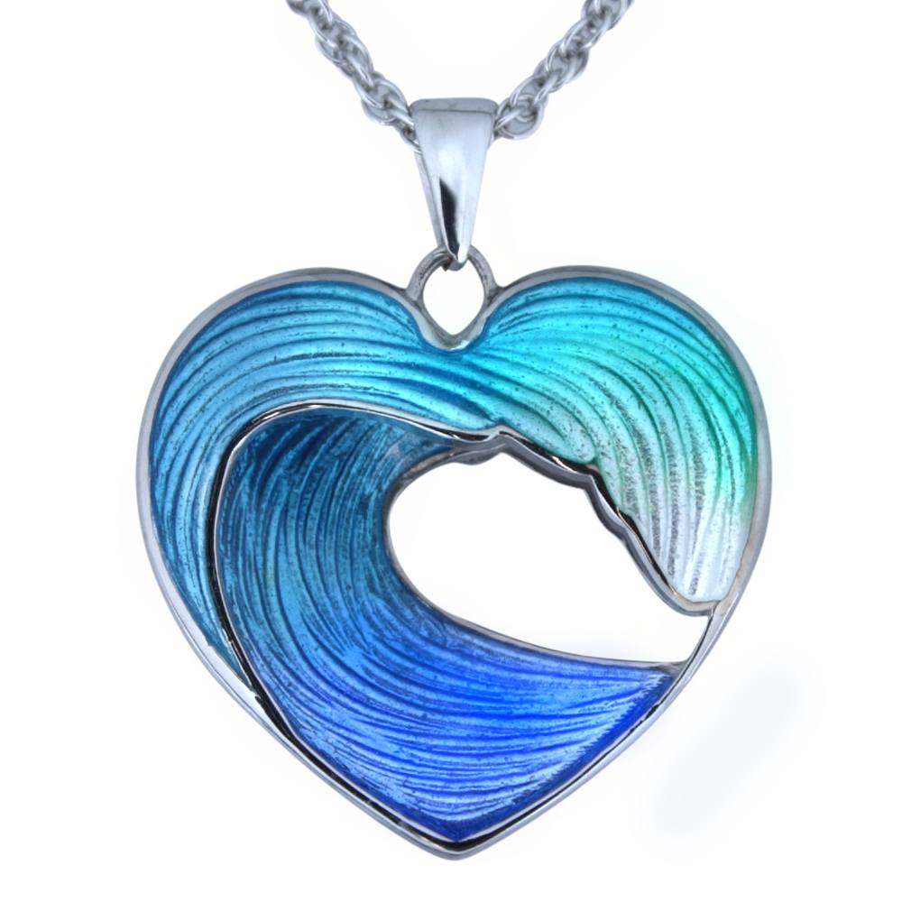 Temporarily  OUT OF STOCK-- Back Order Item-  Heart of the Sea - Wave Necklace in Sterling Silver and Enamel