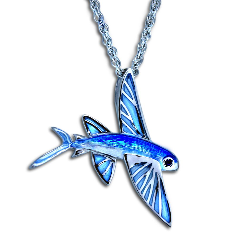 Guy Harvey Enamel Flying Fish Necklace Sterling Silver