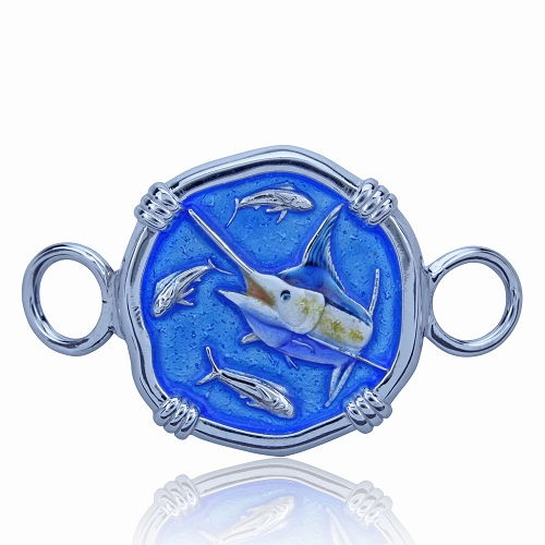 Guy Harvey Hook Bracelet Clasp Attachment with Blue Marlin in Sterling Silver and Full Color Enamel.