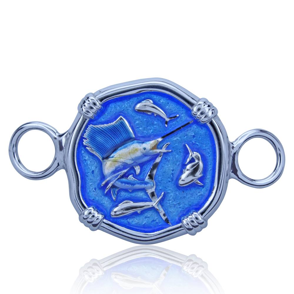 Guy Harvey Hook Bracelet Clasp Attachment with Sailfish in Sterling Silver and Full Color Enamel.