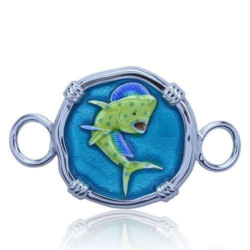 Guy Harvey Hook Bracelet Clasp Attachment with Dolphin/Mahi in Sterling Silver - Full Color Enamel.