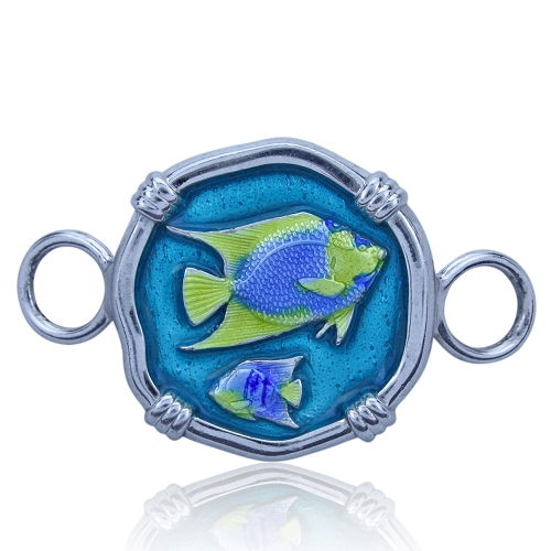 Guy Harvey Hook Bracelet Clasp Attachment with Angelfish in Sterling Silver and Full Color Enamel.