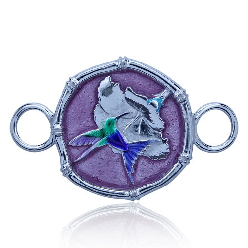 Guy Harvey Hook Bracelet Clasp Attachment with Hummingbird Sterling Silver - Full Color Enamel.