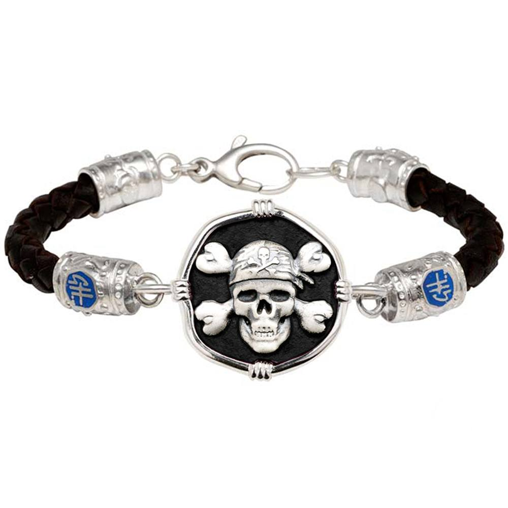 Guy Harvey Pirate on Black Leather  Signature Bracelet Black Enamel Sterling Silver