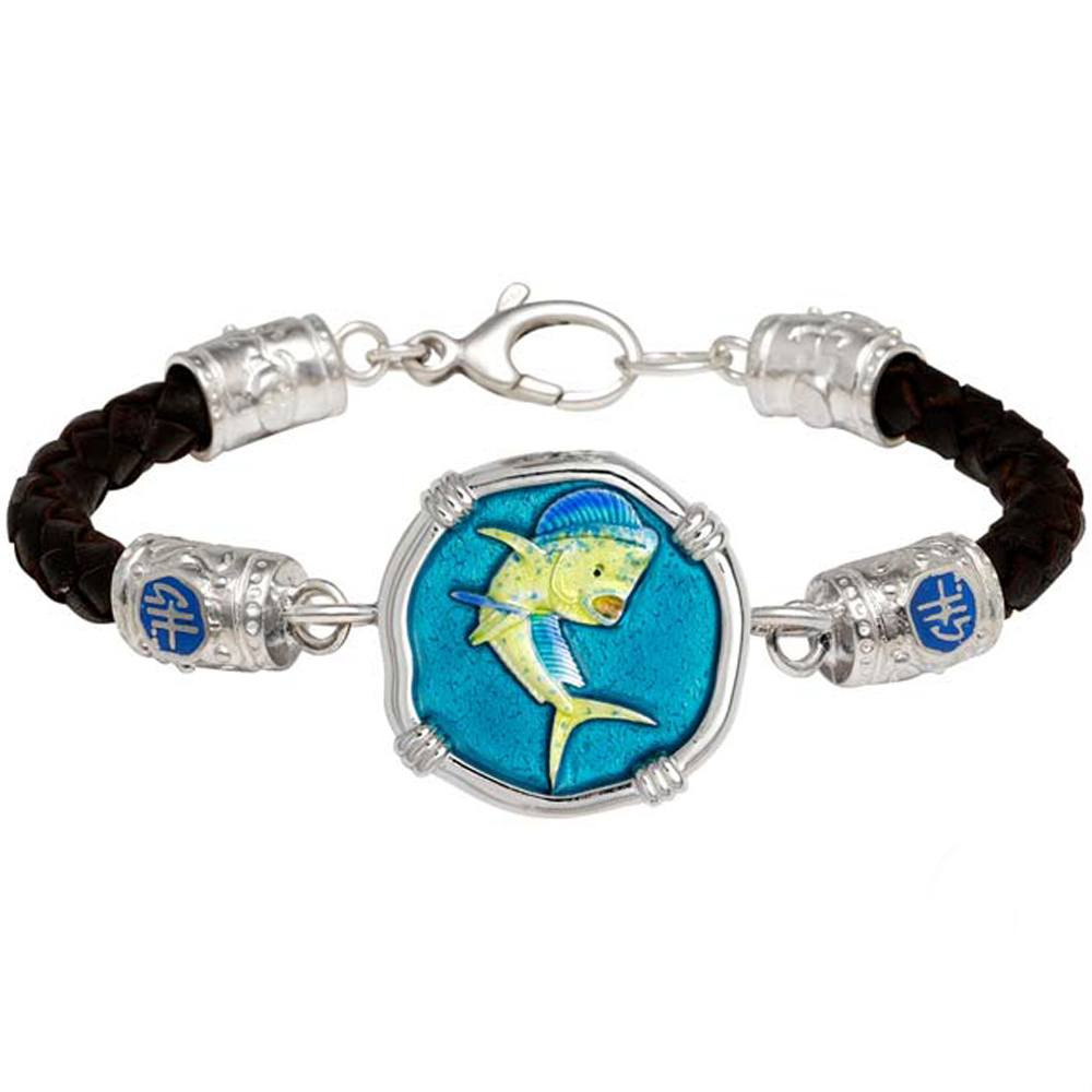 Guy Harvey Dolphin on Black Leather GH Signature Bracelet Full Color Enamel 25mm Sterling Silver