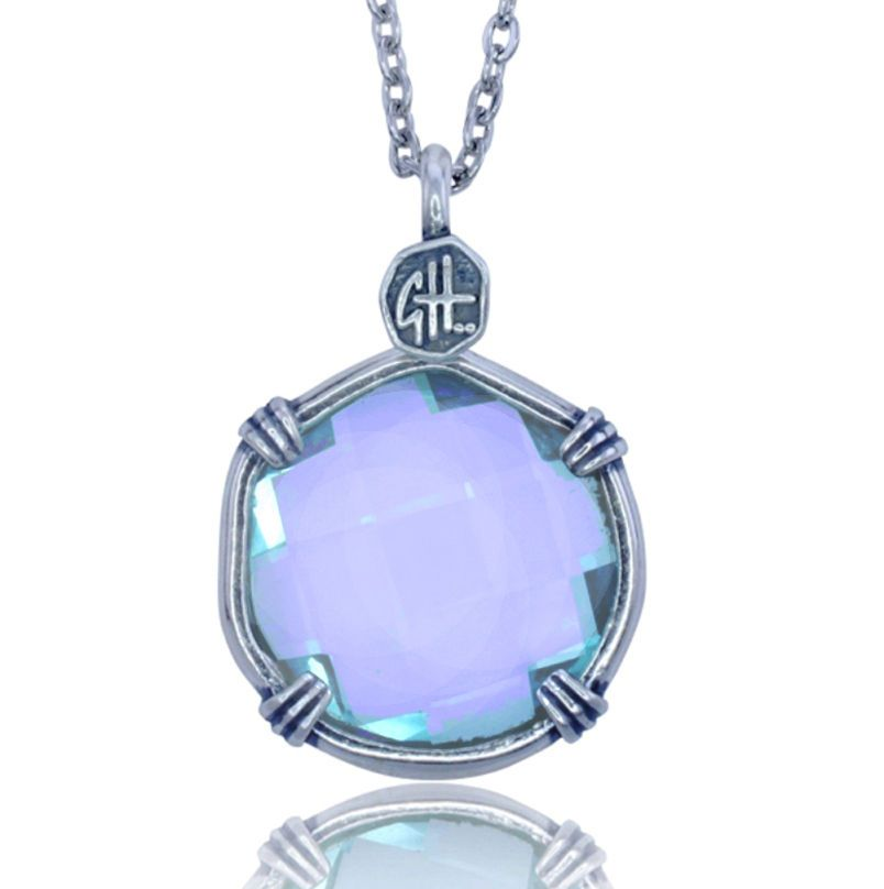 Guy Harvey Lab Created Light Blue Sea Prism Necklace.