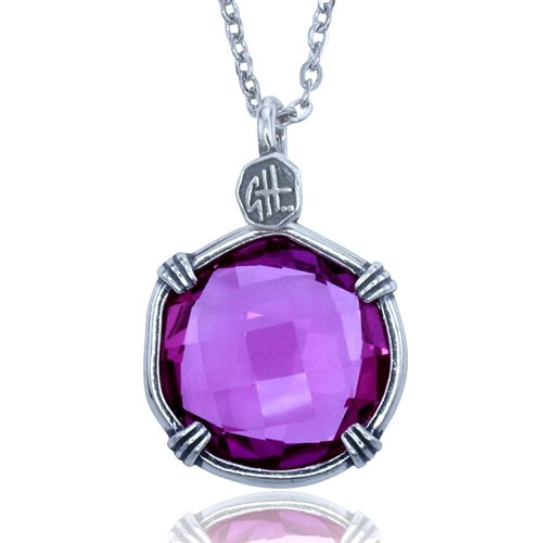 Guy Harvey Lab Created Pink Sapphire Sea Prism Necklace