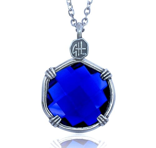 Guy Harvey Lab Created Blue Sapphire Sea Prism Necklace.