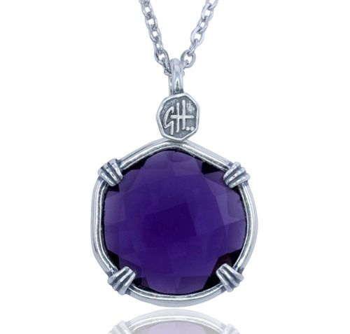 Guy Harvey Lab Created Amethyst Sea Prism Necklace.