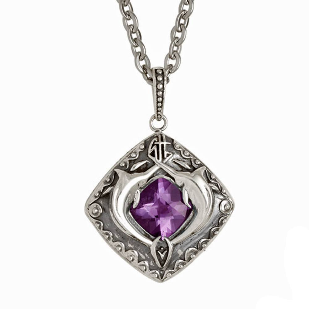 Guy Harvey Double Marlin Shield with Genuine Amethyst Sterling Silver on Stainless Steel Link Chain