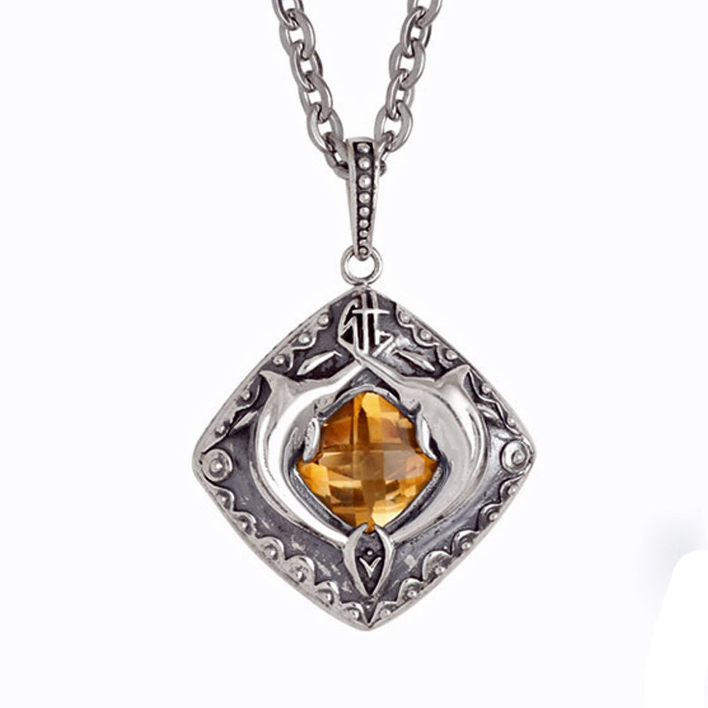 Guy Harvey Double Marlin Shield with Genuine Citrine Sterling Silver on Stainless Steel Link Chain