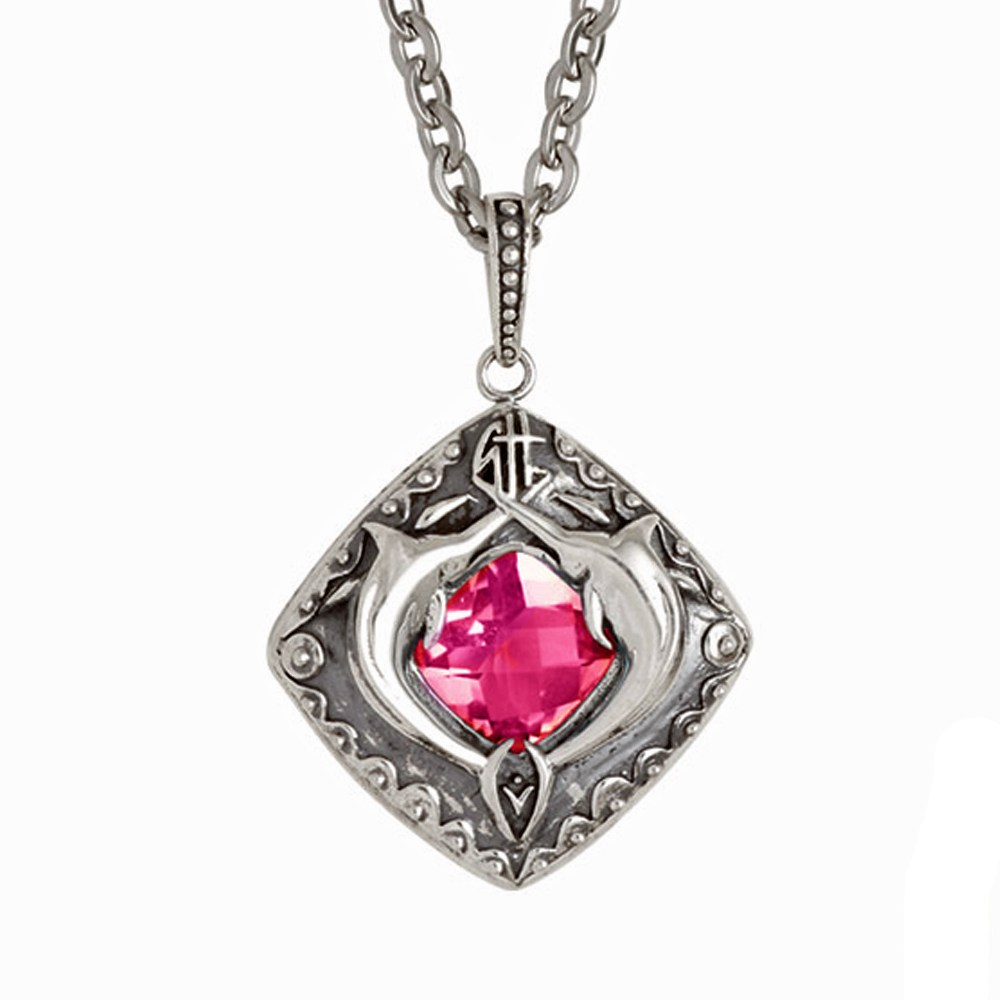 Guy Harvey Double Marlin Shield with Genuine Pink Topaz Sterling Silver on Stainless Steel Chain
