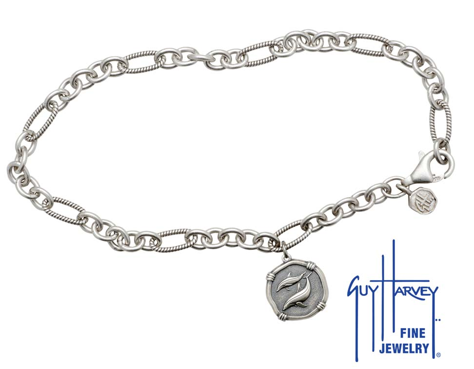 Guy Harvey Porpoises Adjustable Anklet Relic Finish 15mm Sterling Silver