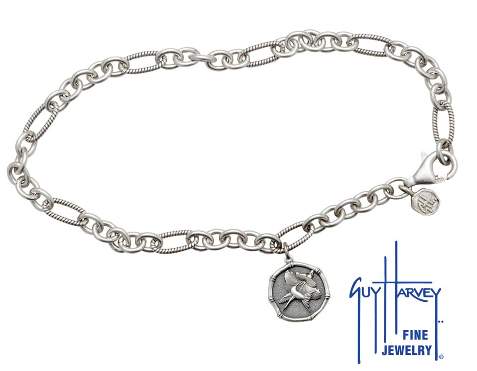 Guy Harvey Hummingbird Sterling Silver Adjustable Anklet Relic Finish 15mm Sterling Silver