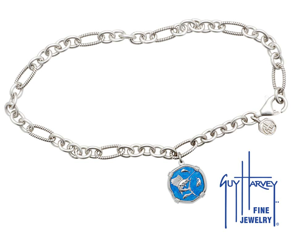 Guy Harvey Sailfish Adjustable Anklet Caribbean Blue Enamel Bright Finish 15mm Sterling Silver