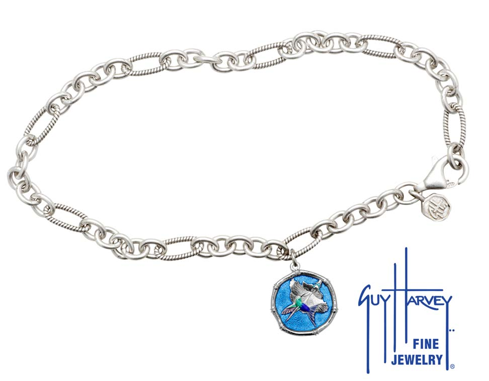 Guy Harvey Hummingbird Sterling Silver Adjustable Anklet Full Color Blue Enamel