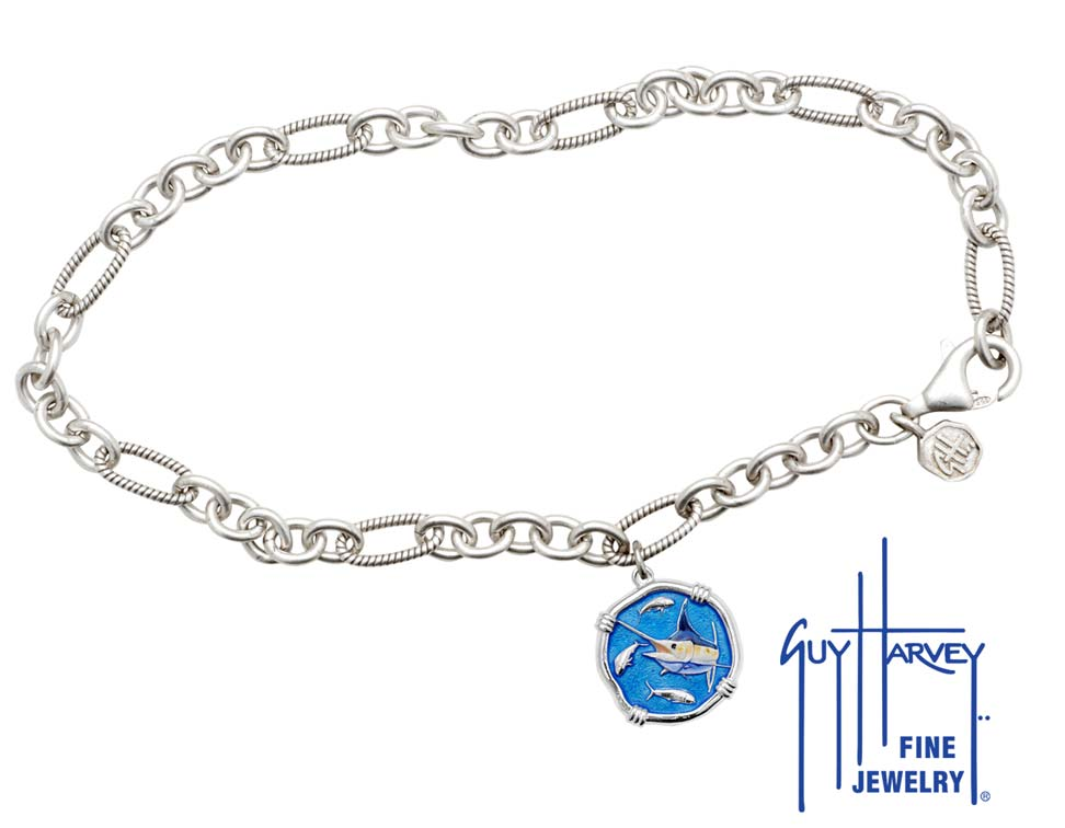 Guy Harvey Marlin Adjustable Anklet Full Color Enamel Bright Finish 15mm Sterling Silver