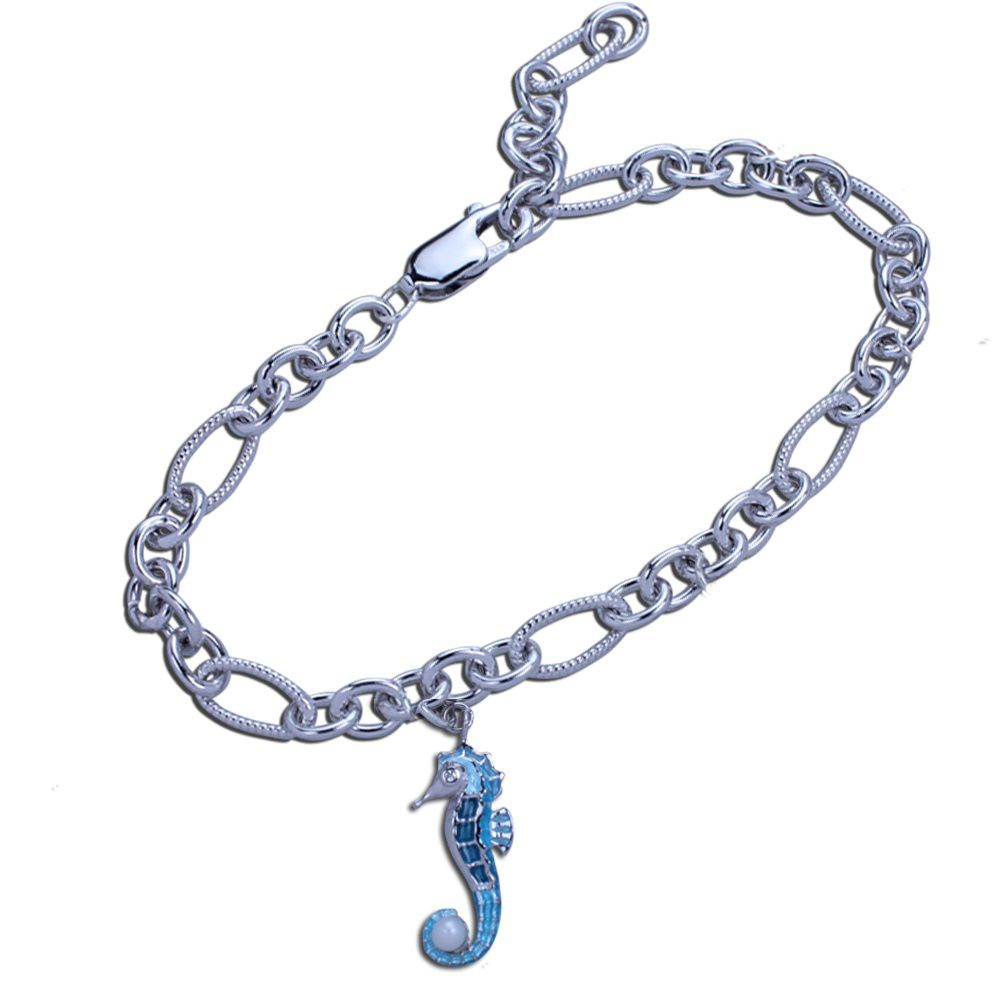 Guy Harvey Seahorse Charm Bracelet in Hard Fired Enamel and Sterling Silver