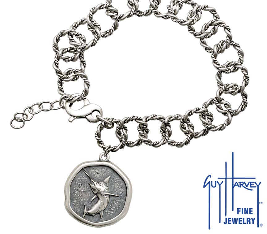 Guy Harvey Marlin on Rope Link Bracelet Relic Finish 25mm Sterling Silver