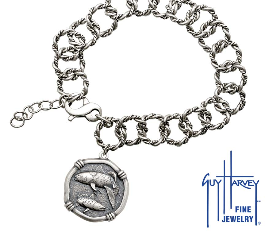 Guy Harvey Redfish & Trout on Rope Link Bracelet Relic Finish 25mm Sterling Silver