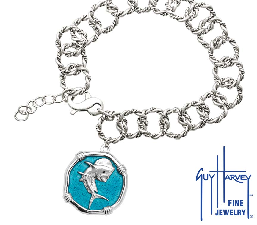 Guy Harvey Dolphin on Rope Link Bracelet Cayman Green Enamel Bright Finish 25mm Sterling Silver