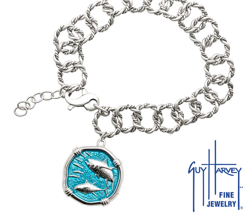 Guy Harvey Tuna on Rope Link Bracelet Cayman Green Enamel Bright Finish 25mm Sterling Silver
