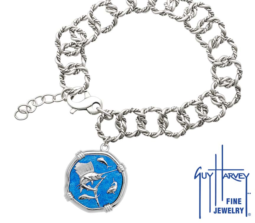 Guy Harvey Sailfish on Rope Link Bracelet Caribbean Blue Enamel Bright Finish 25mm Sterling Silver