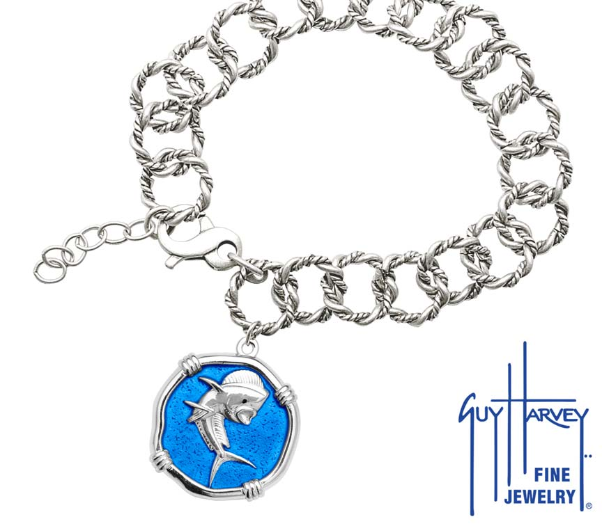 Guy Harvey Dolphin on Rope Link Bracelet Caribbean Blue Enamel Bright Finish 25mm Sterling Silver