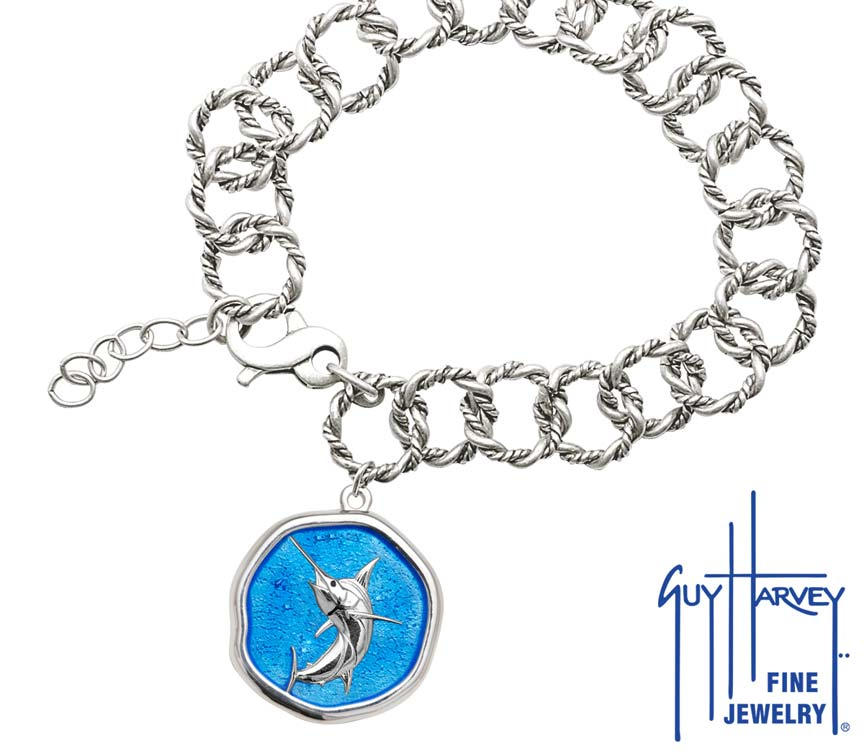Guy Harvey Marlin on Rope Link Bracelet Caribbean Blue Enamel Bright Finish 25mm Sterling Silver