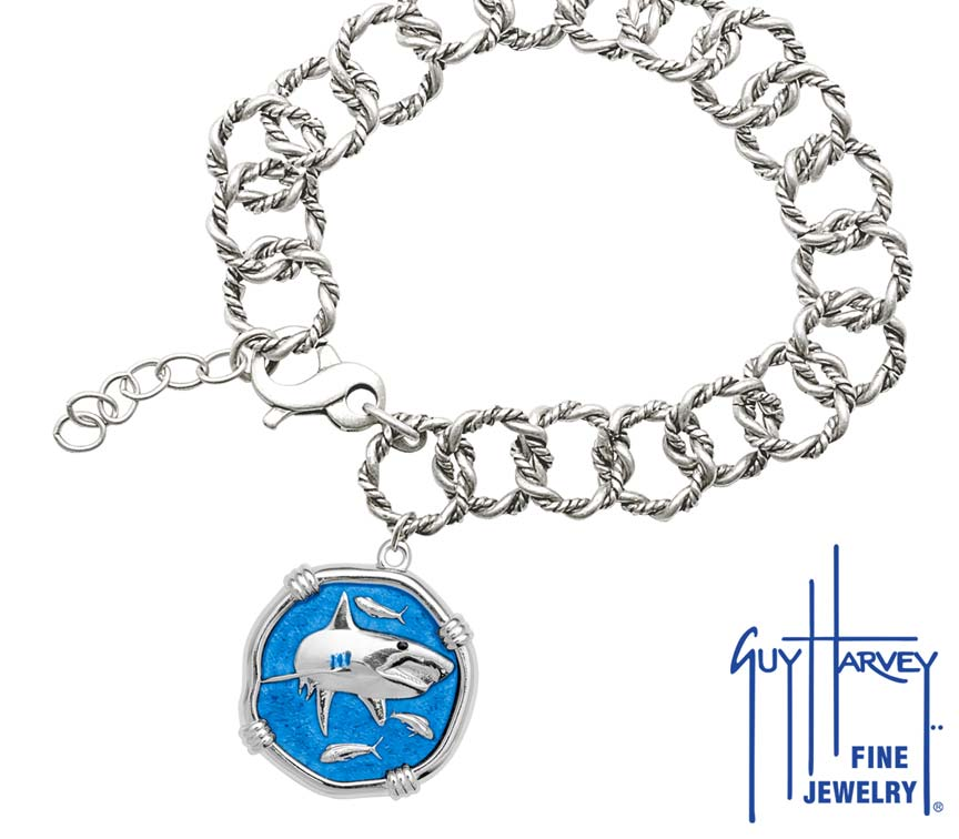 Guy Harvey Shark on Rope Link Bracelet Caribbean Blue Enamel Bright Finish 25mm Sterling Silver