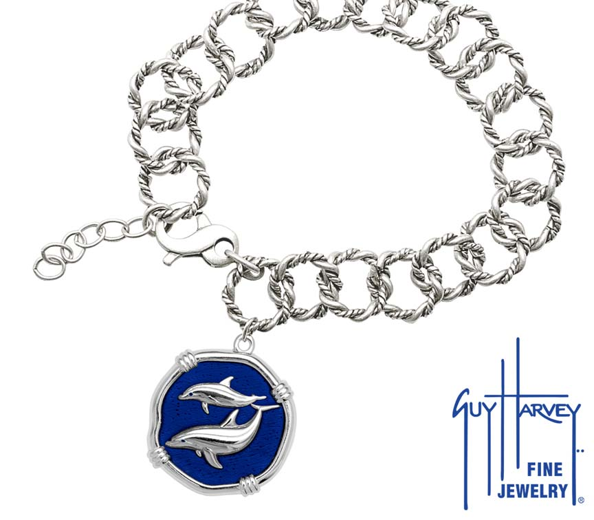 Guy Harvey Porpoise on Rope Link Bracelet Gulf Stream Blue Enamel Bright Finish 25mm Sterling Silver