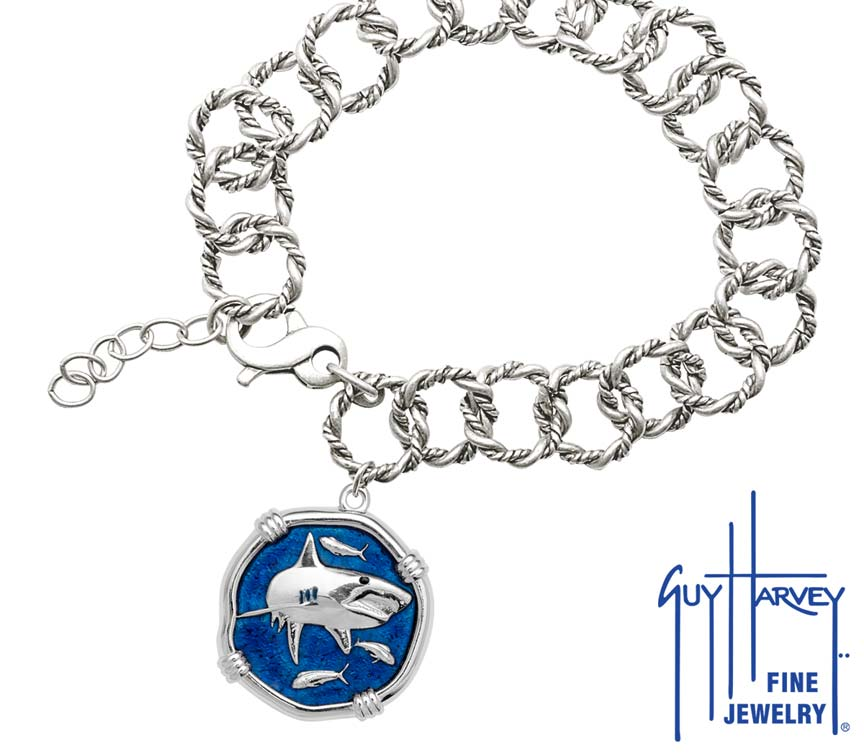 Guy Harvey Shark on Rope Link Bracelet Gulf Stream Blue Enamel Bright Finish 25mm Sterling Silver
