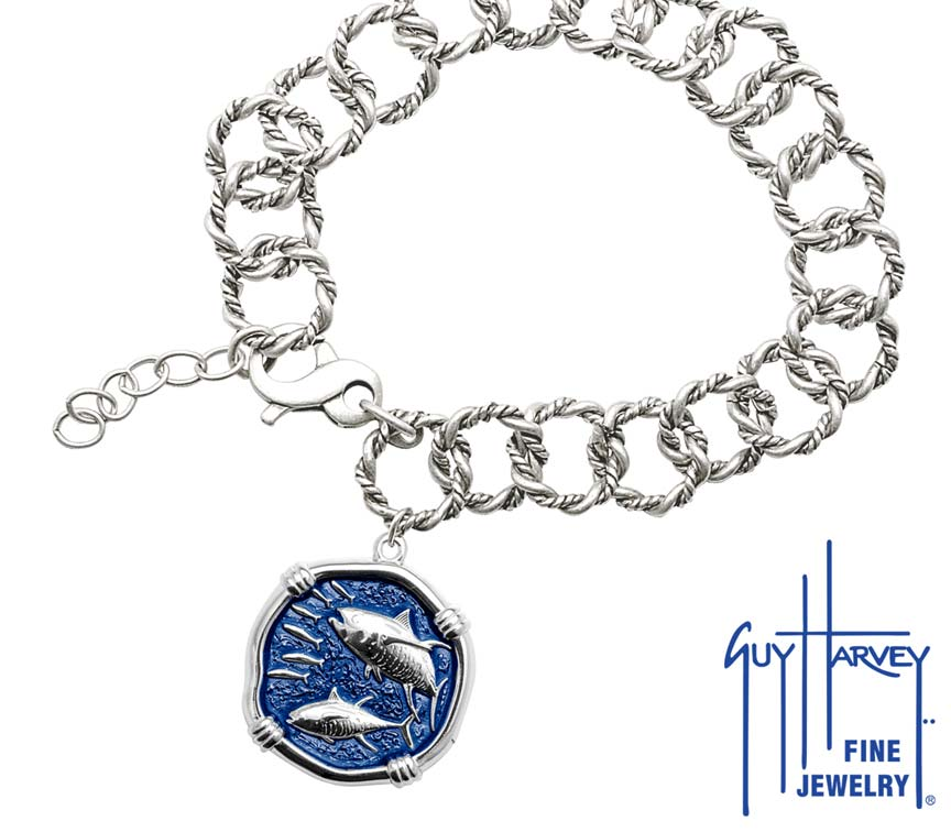 Guy Harvey Tuna on Rope Link Bracelet Gulf Stream Blue Enamel Bright Finish 25mm Sterling Silver