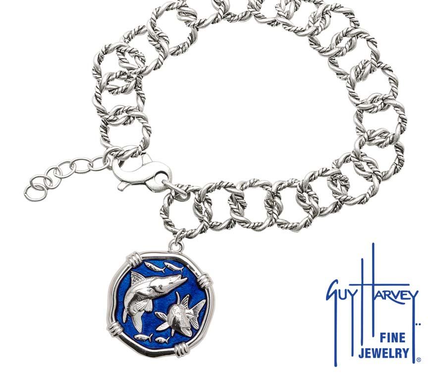 Guy Harvey Snook on Rope Link Bracelet Gulf Stream Blue Enamel Bright Finish 25mm Sterling Silver