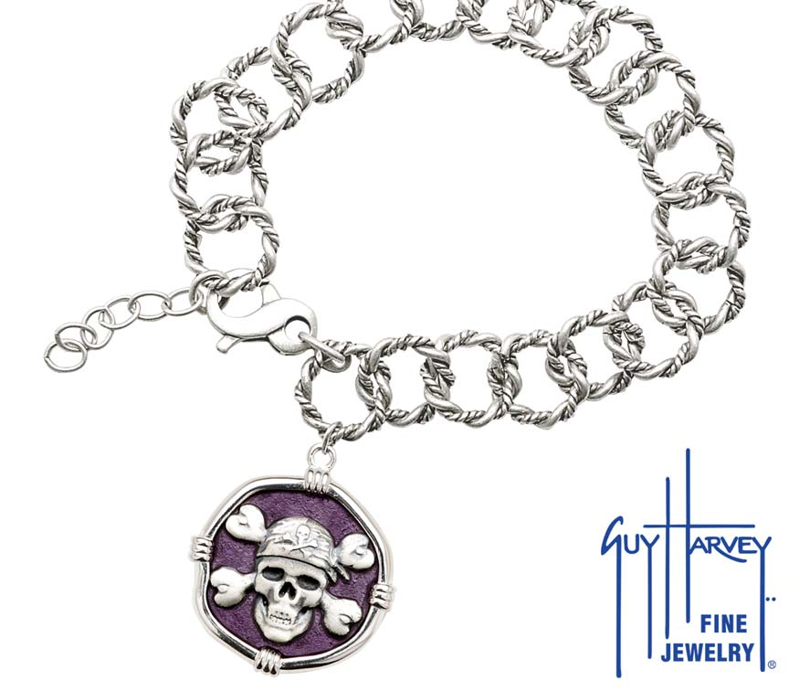 Guy Harvey Pirate on Rope Link Bracelet Purple Enamel Bright Finish 25mm Sterling Silver