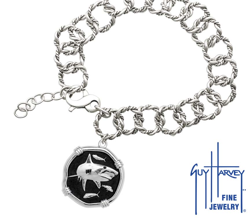 Guy Harvey Shark on Rope Link Bracelet Black Enamel Bright Finish 25mm Sterling Silver
