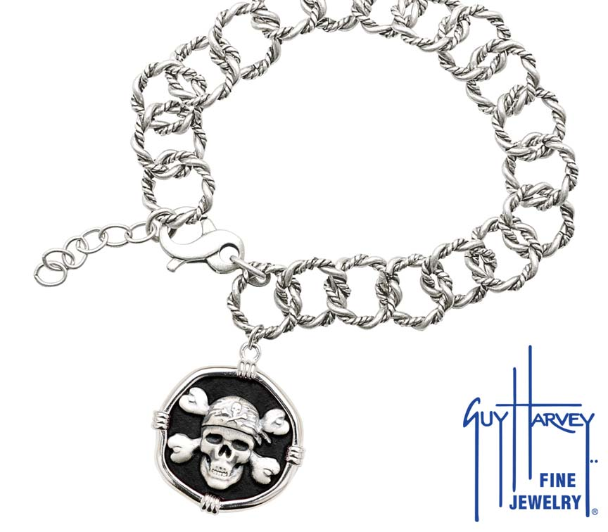 Guy Harvey Pirate on Rope Link Bracelet Black Enamel Bright Finish 25mm Sterling Silver