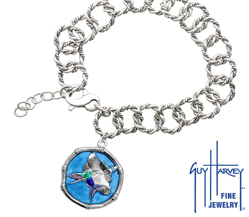 Guy Harvey Hummingbird Sterling Silver on Rope Link Bracelet Full Color Blue Enamel