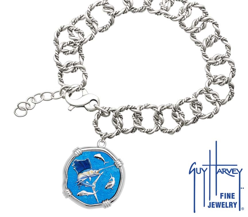 Guy Harvey Sailfish on Rope Link Bracelet Full Color Enamel Bright Finish 25mm Sterling Silver