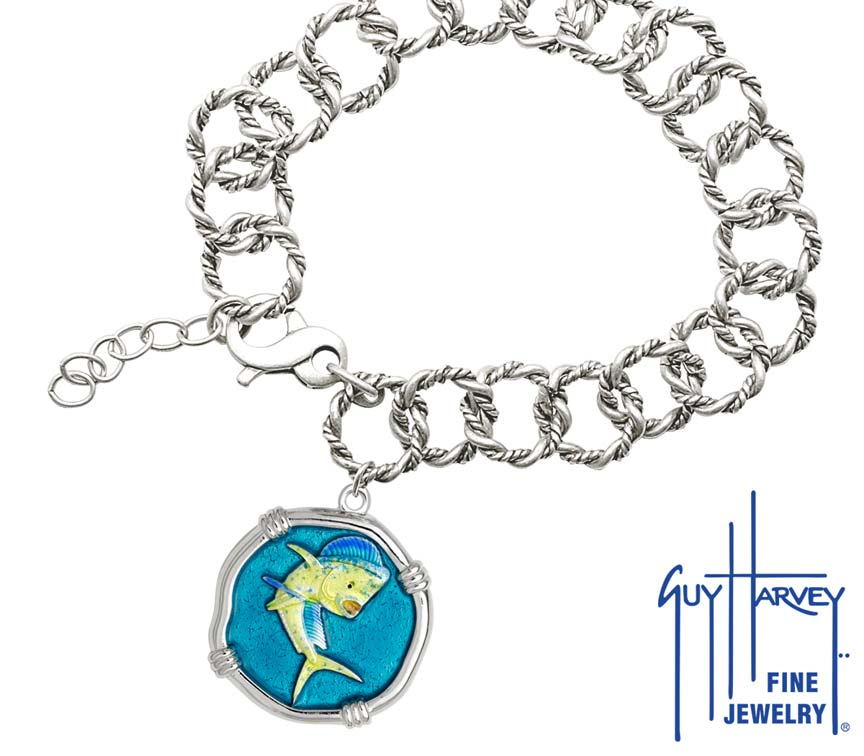 Guy Harvey Dolphin on Rope Link Bracelet Full Color Enamel Bright Finish 25mm Sterling Silver