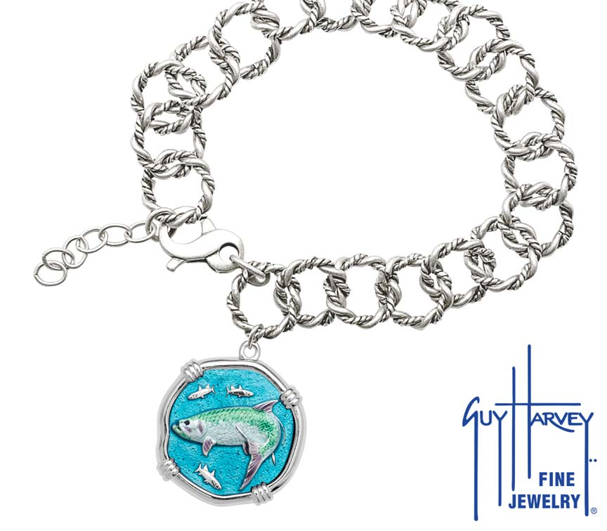 Guy Harvey Tarpon on Rope Link Bracelet Full Color Enamel Bright Finish 25mm Sterling Silver