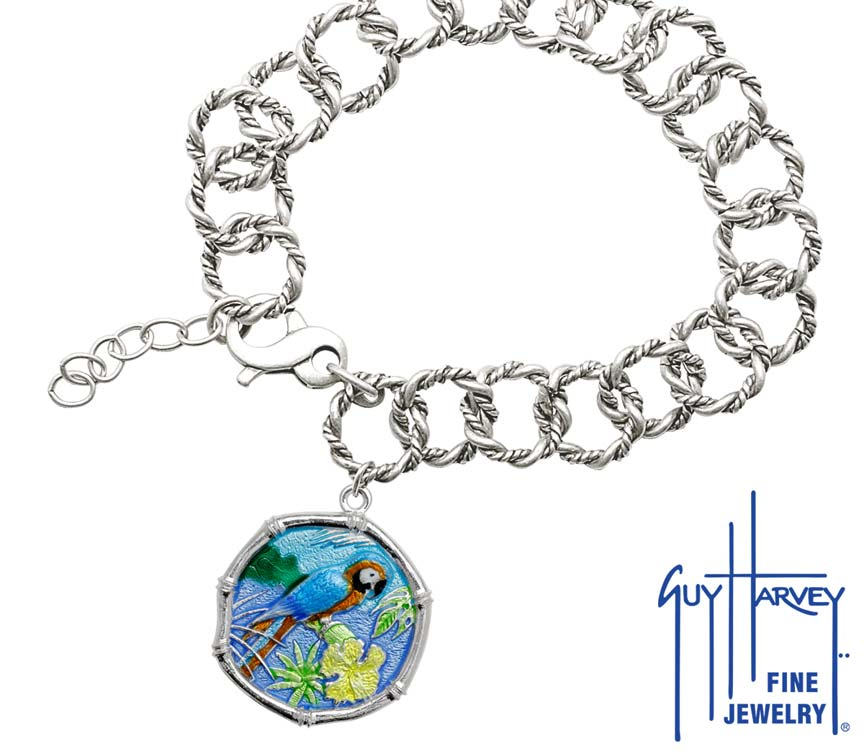 Guy Harvey Macaw on Rope Link Bracelet Full Color Enamel Bright Finish 25mm Sterling Silver
